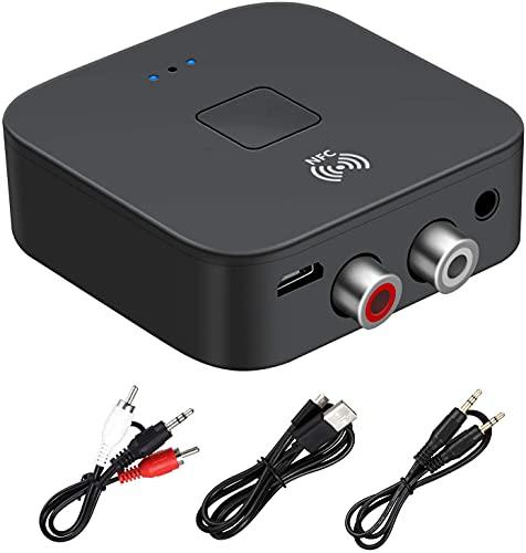 NFC Bluetooth 5.0 Récepteur RCA Jack 3,5 mm AUX HiFi Adaptateur sans Fil Voiture Récepteur Audio Bluetooth,Audio de Voiture,Casque,système de cinéma Maison,récepteurs de Composants Audio stéréo