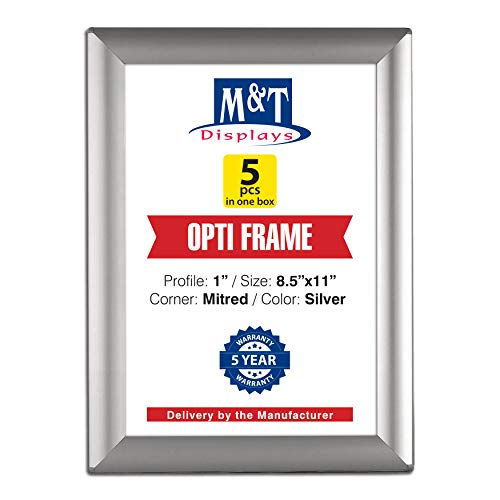 DisplaysMarket 8.5x11 Snap Frame for Wall Mount, Opti Frame, 1 inch Profile- Silver, 5