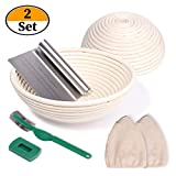 2 Set 9 Inch and 10 Inch Banneton Proofing Baskets, Bread Proofing Basket +Bread Lame +Dough...