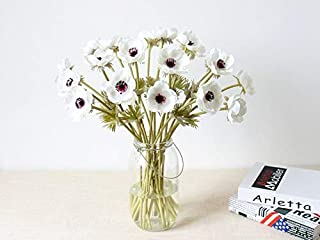 10Pcs Artifical Real Touch PU Anemone Flower Bouquet Room Home Decor (White)