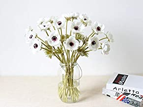 LebriTamFa 10Pcs Artifical Real Touch PU Anemone Flower Bouquet Room Home Decor (White - 10Pcs)