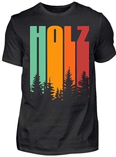 HOLZBRÜDER® Holz Retro Shirt perfekt für die Arbeit mit der Kettensäge im Wald (L, Schwarz)
