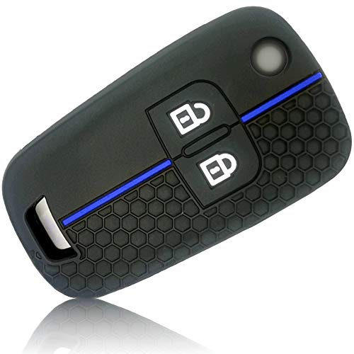 FoilsAndMore Funda Compatible con Opel Chevrolet Llave de Coche con 2 Botones - Silicona Cubierta Protectora Cover Caso Clave in Negro Azul