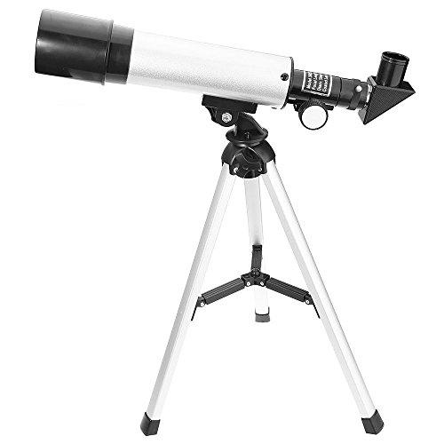 GBlife F36050M Telescopio Refractor Astronómico de Alta Calidad, Apertura Activa 50mm, Espejo Oblicuo 90 grados, con Trípode para Niños / Principiantes, Color Plata