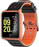 JWCN Fitness Tracker Smart Bluetooth pulsera de frecuencia cardíaca, podómetro, IOS Android, resistente al agua, deportivo, escalada, pantalla táctil, color negro y naranja