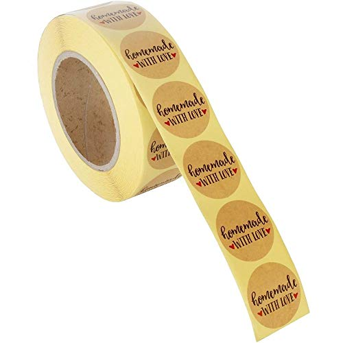 Homemade Sticker Labels - 1000-Piece Homemade with Love Stickers, Homemade Stickers Roll, Kraft Stickers for Gifts, Crafts, DIY Projects, Envelope Sealing, Brown, 1.5 x 1.5 Inches