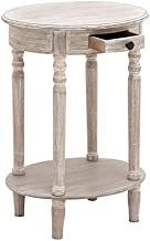 """Deco 79 96290 Wood Oval Accent Table, 27"""" x 20"""", Taupe"""