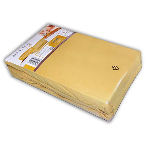NOVITESSE Kids 2 Stück Jersey Spannbetttuch 60x120cm bis 70x140cm Kinder Spann Bettlaken Spannlaken, Farbe: Gelb