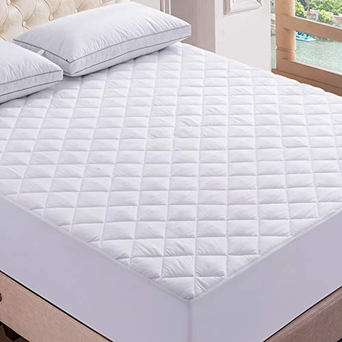 Lux Decor Premium Quilted Fitted Mattress Pad - Stretch-to-Fit Mattress Pad Cover - Stretches up to 16 Inches Deep - Hypoallergenic Cooling White Mattress Fitted Topper(1, Twin)
