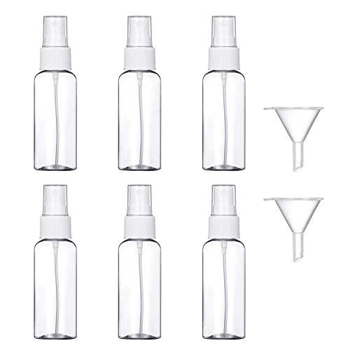 6 Pezzi (50ML) Trasparente Bottiglie Spray, MOCOCITO Flaconi Spray da Viaggio in Plastic Fine Nebbia Bottiglia con 2 Piccolo Imbuto, Dispenser per Acqua Nebulizzatore 【Spedire dall\'Italia】