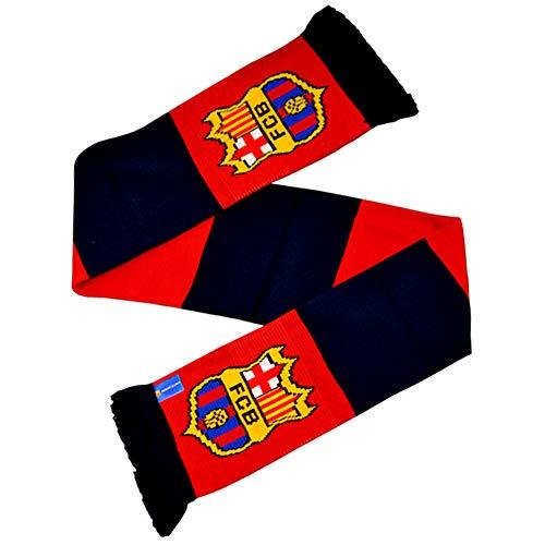 FCB Sciarpa ufficiale a righe con stemma del Barcellona (Taglia unica) (Rosso/Blu)