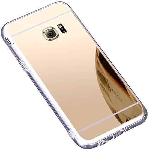 JAWSEU Compatible avec Samsung Galaxy S6 Edge Coque Miroir Silicone,Cristal Brillant Bling Glitter Miroir Housse de Protection Slim Souple Gel Paillettes Strass Case pour Femme Fille,Or
