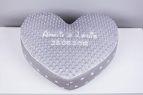 Amilian® Kissen Herz Herzkissen mit Namen Datum Grau/Sternchen Grau