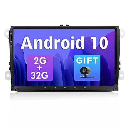 SXAUTO Android 10 Autoradio Compatibile VW Skoda   POLO   PASSAT   B6   CC   GOLF   Fabia - [2G 32G] - GRATUITI Camera Canbus - 2 Din 9 Pollici - Supporto DAB WLAN Bluetooth5.0 Carplay 4G Volante