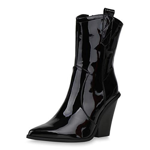 SCARPE VITA Damen Stiefeletten Cowboy Boots Leicht Gefütterte Lack Stiefel Western Schuhe Cowboystiefel Chunky High Heels 187309 Schwarz Black 37