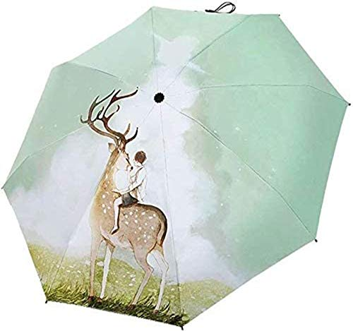 MGEE Paraguas de viaje compacto ligero portátil para mujer, resistente al viento, paraguas UV, paraguas de tres capas, fácil de abrir/cerrar, paraguas para niños