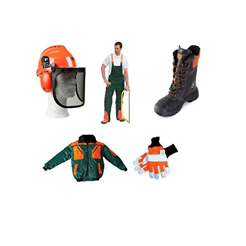 5er Schnittschutz Set Forsthelm Oregon,Schnittschutzhose Pilotenjacke Lederstief