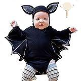 kungfu Mall Niño recién Nacido bebé niños niñas murciélago patrón Mameluco Sombrero y sonajero Tambor para Halloween Fiesta de Navidad Disfraces Cosplay (35 Pulgadas Corto)