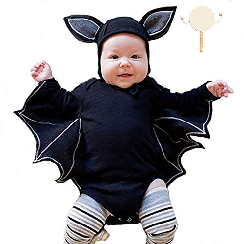 kungfu Mall Toddler Newborn Baby Boys Girls Bat Pattern Pagliaccetto Cappello e Rattle Drum per Halloween Xmas Party Fancy Dress Costume Cosplay (35 Pollici Corto)