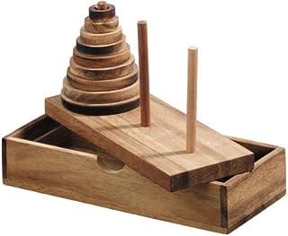 Logica Puzzles Art. Tower of Hanoi - Wooden Brain Teaser in Fine Wood - 9 Discs