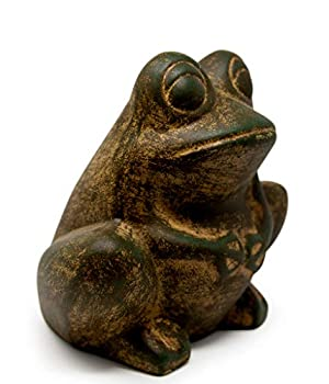 Elly Décor Frog Lawn décor 9-inch Art Sculpture for Your Patio & Yard Ceramic Animal figurin Outdoor Garden Statues Green Rustic