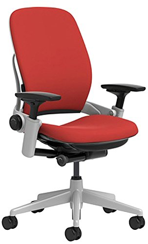 Steelcase Leap Chair with Platinum Base & Standard Carpet Caster, Scarlet