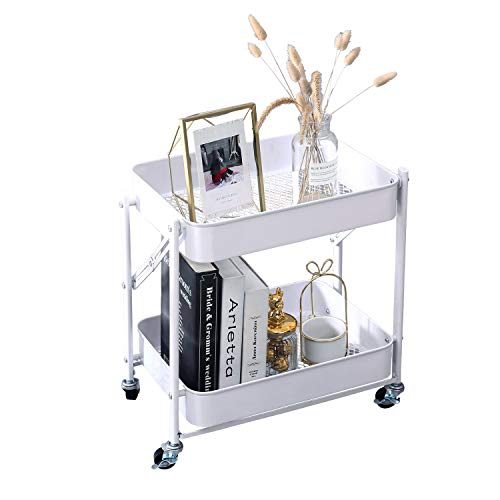 2-Tier Metal Folding Rolling Cart, Mobile Utility Cart Trolley Storage Organizer for Office Home Kitchen Organization, Sofa Side End Table with Wheels, White