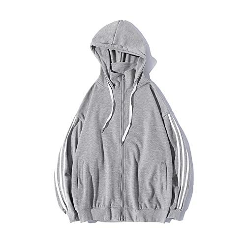 Chaqueta con capucha para hombre juvenil con capucha y rayas con cremallera y capucha de gama alta para tallas S a 4XL, gris, XL
