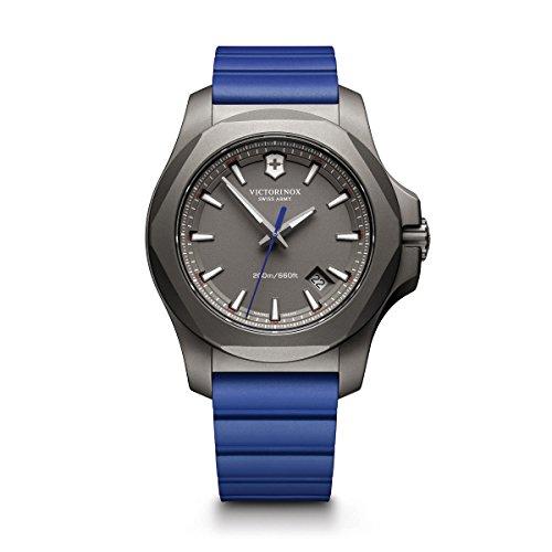 Victorinox Men's I.N.O.X. Titanium Swiss-Quartz Watch with Rubber Strap, Blue, 21 (Model: 241759)