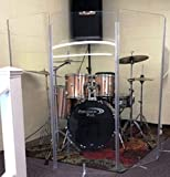 Drum Shield DS4 5 Section Drum Shield Acrylic Drum Panels with Full Length Living Hinges All Acrylic Panels 5' Tall