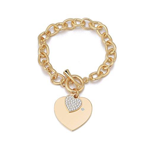 Bracciale con maglie a forma di cuore, bracciale a forma di cuore Bracciale con ciondolo a forma di catena placcato in argento con cristallo (Placcato oro)