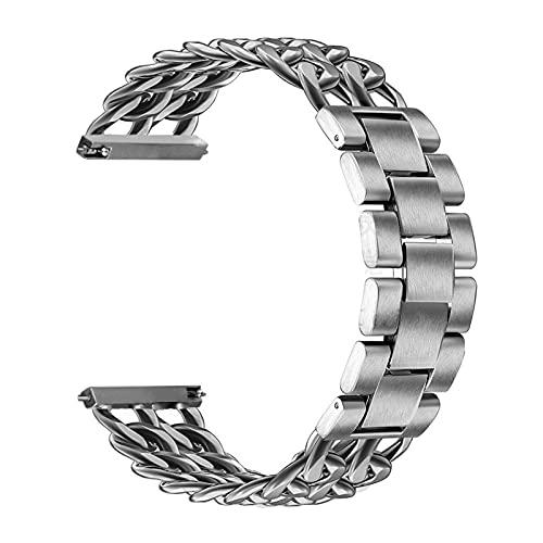 Pulsera para Samsung Engranaje S3 Cadena Acero Inoxidable Pulsera para Galaxy Watch 3 Correa Cinturón Metal (Color Plateado, Ancho de banda: For Gear S3)