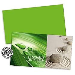 50 hochwertige Gutscheinkarten + 50 Kuverts. Geschenkgutscheine für Massageinstitut Naturheilkunde Heilpraktiker. Vorderseite hochglänzend. MA1235