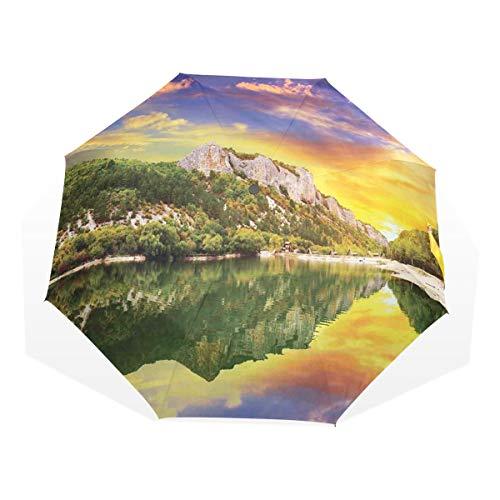 LASINSU Regenschirm,Bewölkt mit der Möglichkeit von Schauern und Gewittern,Faltbar Kompakt Sonnenschirm UV Schutz Winddicht Regenschirm