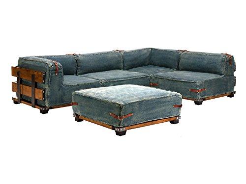 massivum L-Sofa Fairview 275x65x182 cm aus Jeans-Stoff blau inkl. Hocker - links und rechts stellbar