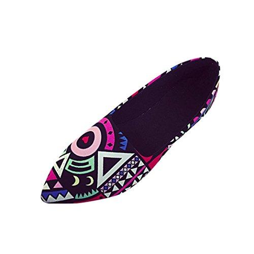 FNKDOR Damen Mode Geschlossene Ballerinas Flache Pumps Elegant Schuhe(38,Mehrfarbig)