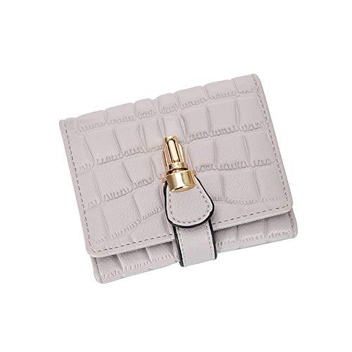 NOLOGO Wallet Damen PU-Leder Steinmuster kurzer Absatz Multi-Card-Bit-Banknote Bügelverschluss Geldbörse Vertical Wallet (Color : White)