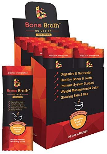 Bone Broth Grass Fed Beef • 10 Sachets • Vegetable Bouillon Natural Flavor • Paleo • Ketogenic • Non GMO • Broth by Design