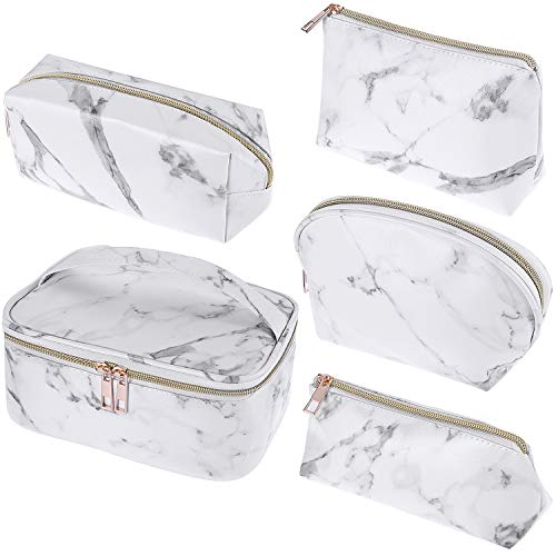5 Pieces Marble Makeup Bags Set Portable Travel Cosmetic Bag Pouch Waterproof Marble Toiletry Bag Multi-function Jewelry Organizers Storage Bag Case with Golden Zipper for Women Girls