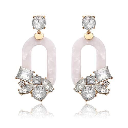 BSJELL Acrylic Hoop Earrings for Women Resin Textured Mottled Earrings Statement Crystal Oval Geometric Drop Earrings Fashion Jewelry (White)