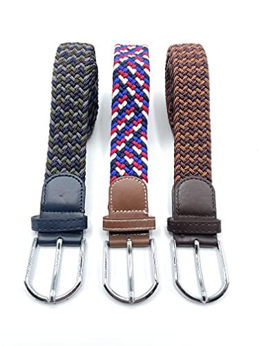Desconocido Set de 3 Cinturones Hombre y Mujer de Colores Elásticos Trenzados. Cinturón Ancho de Talla Única que se Adapta a cada Cintura, para Hombre y Mujer Vestir y Casual (Colores 4, 110)