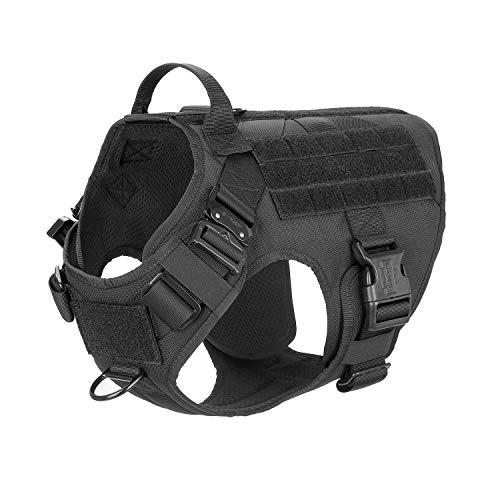 ICEFANG Tactical Dog Harness with 2X Metal Buckle,Working Dog MOLLE Vest with Handle,No Pulling Front Leash Clip,Hook and Loop for Dog Patch (L (28'-35' Girth), Black)