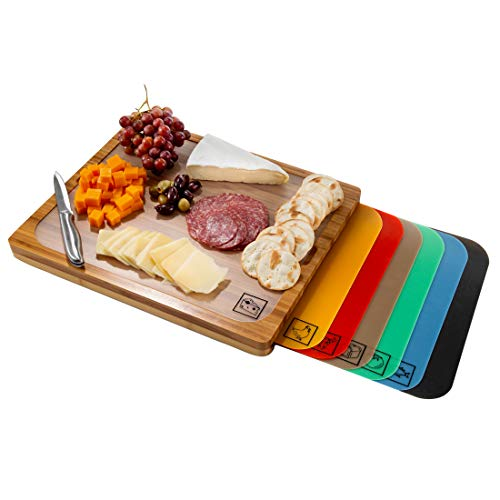 Seville Classics Easy-to-Clean Bamboo Cutting Board and 7 Color-Coded Flexible Cutting Mats with...