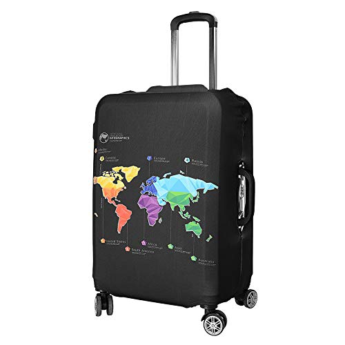 SurePromise Elastic Dustproof Travel Suitcase Protective Cover Washable Anti Scratch Trolley Case Luggage Protector(#1 World Map, L)