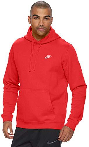 Men's Nike Sportswear Club Pullover Hoodie, Fleece Sweatshirt for Men with Paneled Hood, University Red/University Red/White, L-T