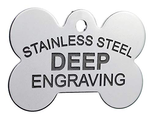 Pawsitively Pet Tags DEEP Custom Stainless Steel Pet ID Tags Front and Back Engraved Dog Tags Personalized for Dogs and Cats (XL Bone 1-1/3'x2)