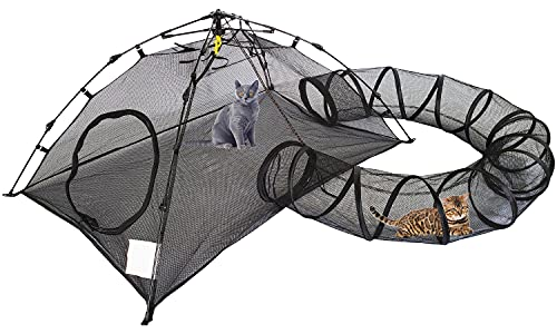 BETYMAN Outdoor Cat Enclosures Cat Tent Outdoor Pop Up Pet Playpen with One Cat Tunnels Portable Cat...