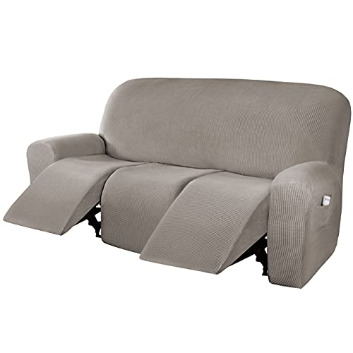 H.VERSAILTEX Super Stretch Recliner Sofa Covers Reclining Couch Covers Recliner Sofa Slipcovers 3 Seater Furniture Covers Thick Soft Jacquard Fabric Form Fitting and Easy Put On, Taupe