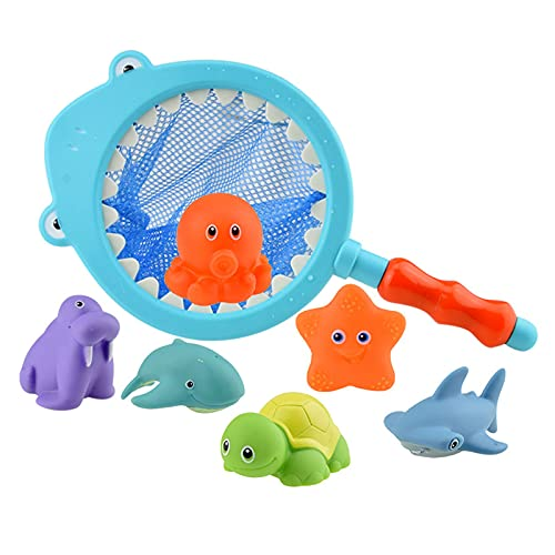 LQKYWNA Juguetes De Baño, 7 Unids / Set Juguetes De Baño con Red De Pesca para Bebés Pequeños, Tiempo De Ducha, Natación, Agua, Rociador, Juguetes En Aerosol