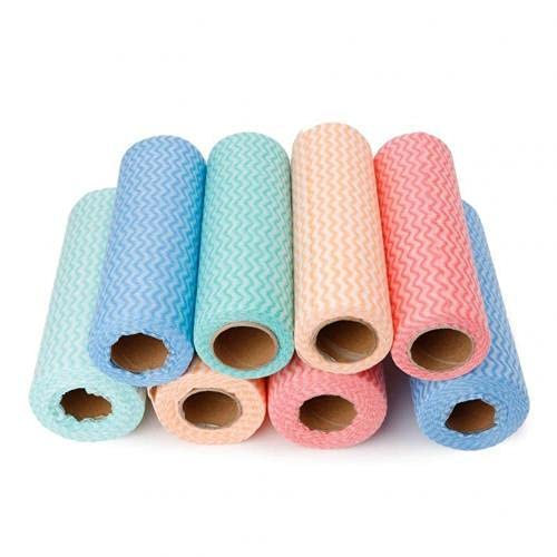 50 Hojas / Rollo de toallitas Desechables Multiusos paño de Cocina de Tela no Tejida Toallas de Limpieza de Cocina Trapos Utensilios para Cocina de Color Aleatorio